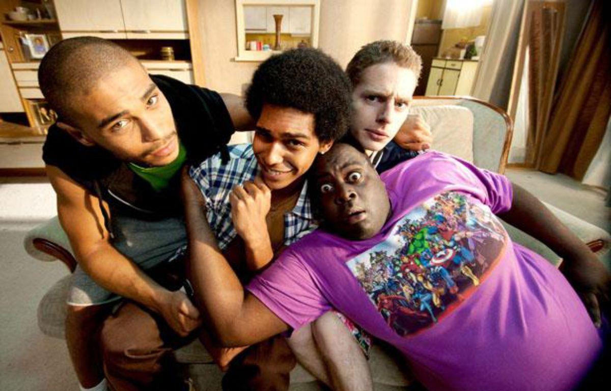 Nassim si Ahmed (Malik), Alexandre Achdjian (Jo), Pablo Pauly (Polo) et Issa Doumbia (Barkette), les héros de la série Lascars, diffusée sur Canal+. – Xavier Lahache / CANAL+