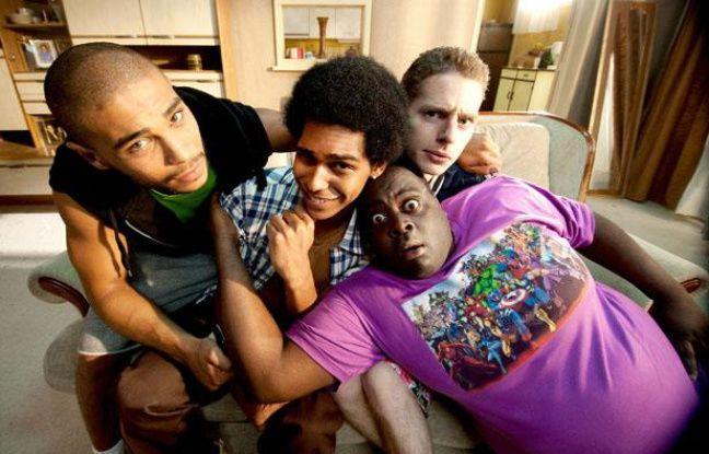Nassim si Ahmed (Malik), Alexandre Achdjian (Jo), Pablo Pauly (Polo) et Issa Doumbia (Barkette), les héros de la série Lascars, diffusée sur Canal+.
