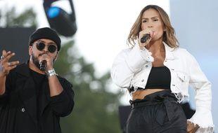 Slimane et Vitaa, sur la scène du NRJ Music Tour, à Toulouse, le 14 juillet 2019.