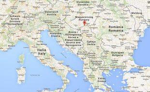 Google map de la région de Subotica, en Serbie.