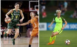 La basketteuse Sue Bird et la footballeuse Megan Rapinoe.