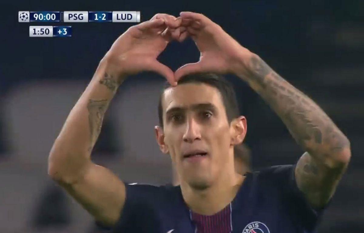 Di Maria a fêté son but avec un coeur contre Ludogorets le 6 décembre 2016. – Capture d'écran