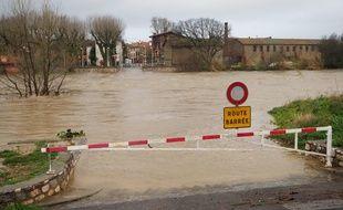 Une zone inondée dans les Pyrénées-Orientales, le 22 janvier 2020.