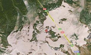 Carte du Mont-Blanc du Tacul, où a eu lieu une avalanche dans la nuit du 23 au 24 août 2008.