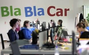 Illustration de la société BlaBlaCar dans ses locaux à Paris le 18 avril 2015.
