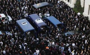Obsèques à Jérusalem, le 18 novembre 2014 de 3 des 4 victimes tués suite à un attentat dans une synagogue de la Ville sainte