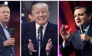 De gauche à droite : John Kasich, Donald Trump et Ted Cruz.