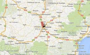 Google map du quartier du Mirail, près de Toulouse.