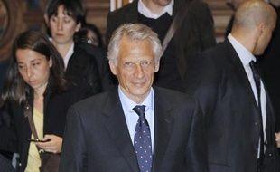Dominique de Villepin, au tribunal de Paris, à l'ouverture du procès Clearstream en appel le 2 mai 2011.