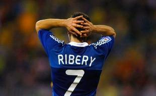Le footballeur de l'équipe de France, Franck Ribéry, lors du match contre la Roumanie, le 11 octobre 2008 à Constanta.