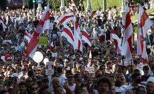 Manifestation à Minsk contre le régime du président Alexandre Loukachenko, le 16 août 2020.