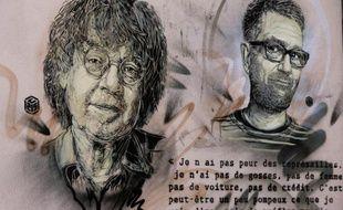 """Des portraits réalisés au pochoir des dessinateurs de Charlie Hebdo Cabu (G) et Charb (D), par l'artiste Christian Guémy, alias """"C215"""", le 13 janvier 2016, au pied de l'ancien siège parisien du journal satirique."""