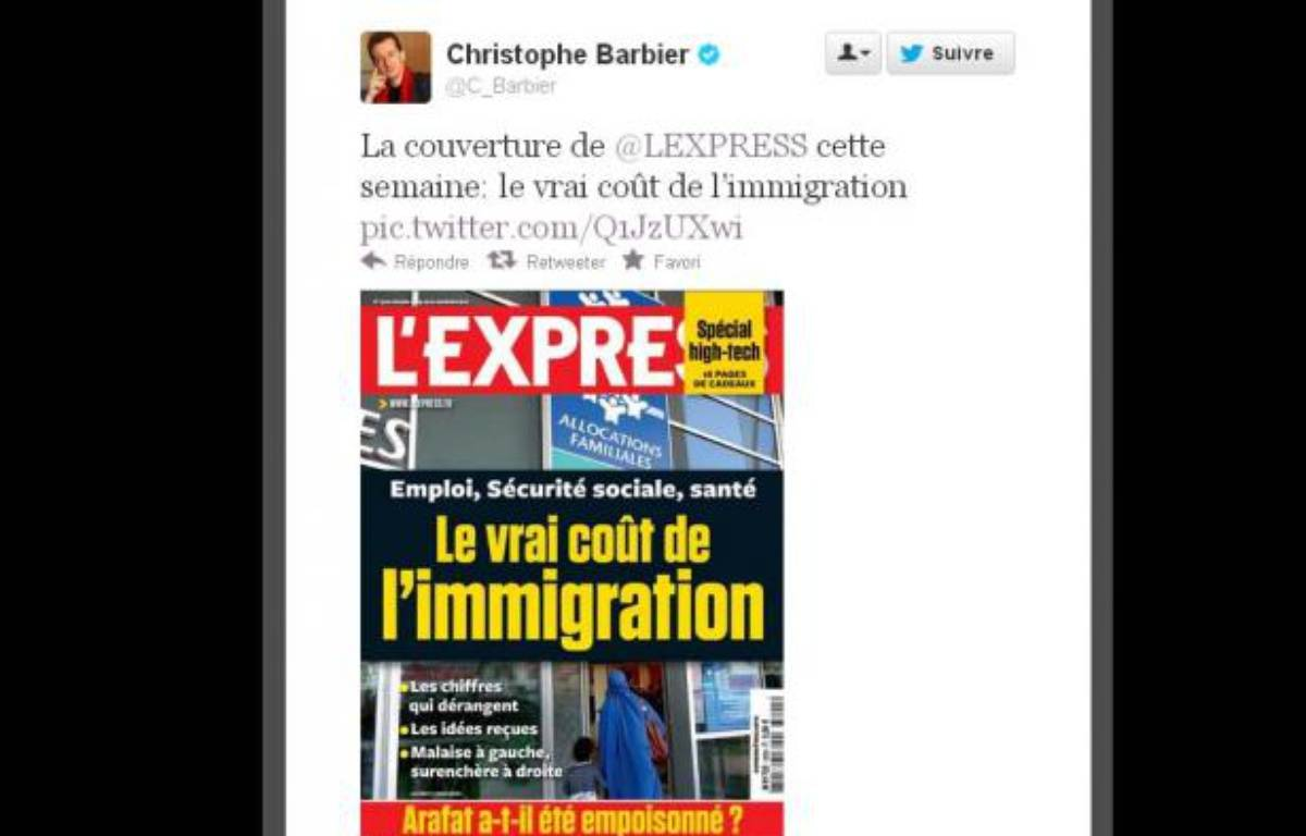 Christophe Barbier, directeur de la rédaction de l'Express, présente la Une de l'hebdomadaire à paraître le 14novembre2012. – L'express