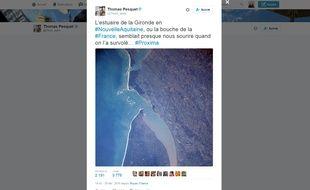 L'Estuaire de la Gironde photographié par Thomas Pesquet et publié sur son compte Twitter.