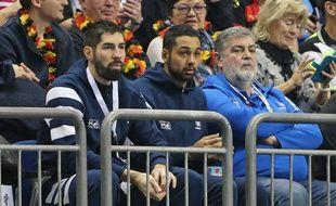 Nikola Karabatic et Melvyn Richardson, 17e et 18e hommes du groupe France lors du Mondial de handball en Allemagne.