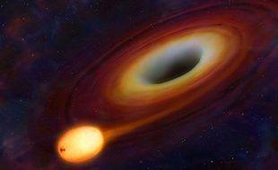 Vue d'artiste d'une étoile passant près d'un trou noir.