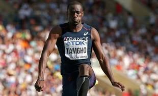 Le Français Teddy Tamgho champion du monde de triple saut le 18 août 2013 à Moscou.