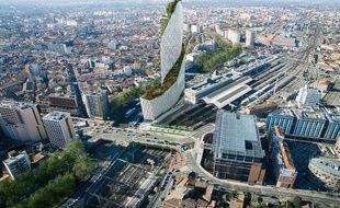Vue aérienne de la future Tour Occitanie , haute de 150 m de haut, qui doit voir le jour dans le quartier de la gare.