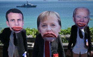 Petit happening, en Cornouailles, en Angleterre, lors d'un sommet du G7.