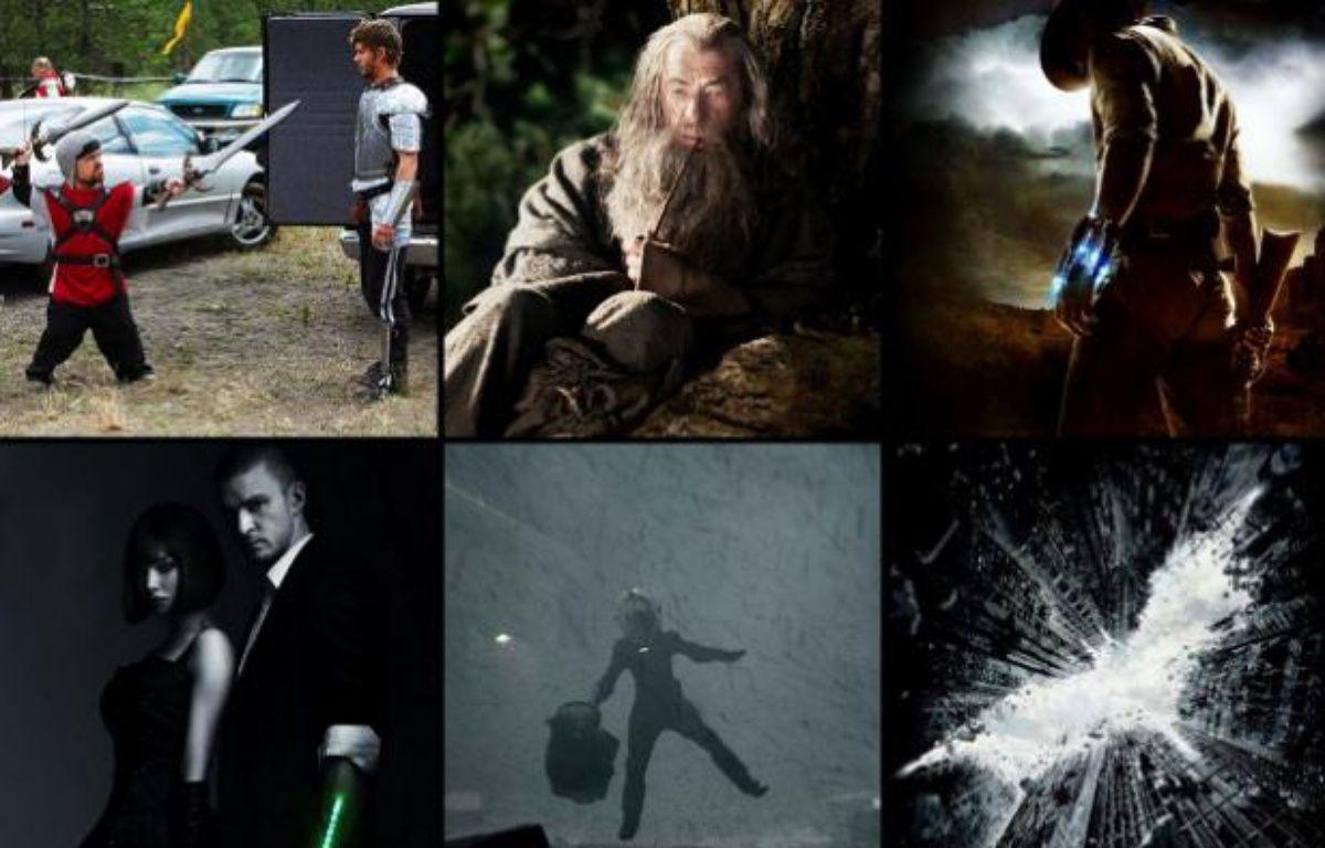 Photomontage de films présentés au Comic-Con 2011, à San Diego (Knights of Badassdom,  The Hobbit, Cowboys and aliens, In Time, Prometheus, The Dark Knight  rises, The Avengers, Tintin et Amazing Spiderman). – no credit
