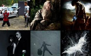 Photomontage de films présentés au Comic-Con 2011, à San Diego (Knights of Badassdom,  The Hobbit, Cowboys and aliens, In Time, Prometheus, The Dark Knight  rises, The Avengers, Tintin et Amazing Spiderman).