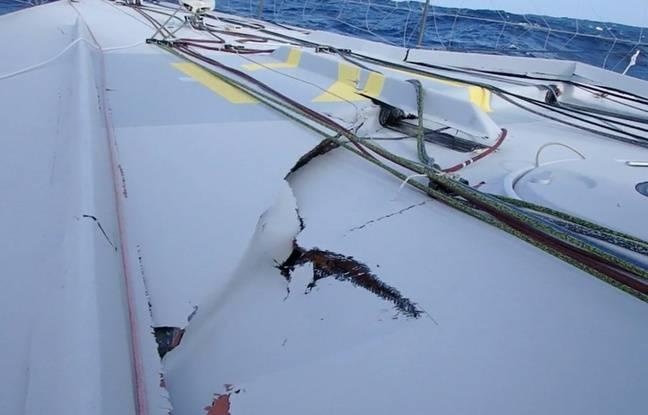 Le pont du voilier de Thomas Ruyant a été sérieusement endommagé