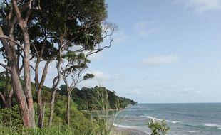 La côte atlantique et l'Arboretum Raponda Walker au nord de Libreville, au Gabon.