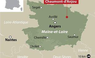 Carte de localisation de Chaumont-d'Anjou dans le Maine-et-Loire