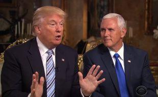 Le candidat républicain Donald Trump et son colistier Mike Pence, le 17 juillet 2016, sur CBS.
