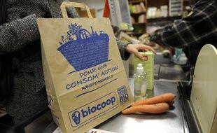 Illustration dans un supermarché Biocoop.