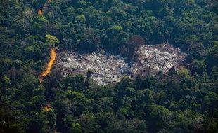Un incendie vu du ciel en Amazonie, le 28 août 2019.