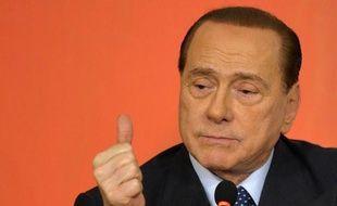 L'ancien chef de gouvernement Silvio Berlusconi, le 7 mai 2014 lors d'une conférence de presse à Rome
