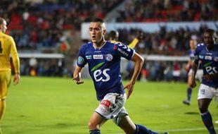 L'attaquant strasbourgeois Frédéric Marques après son but face à Epinal (1-0), le 15 août 2014.