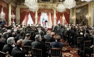 A la 17e conférence des ambassadeurs, lors du discours de Nicolas Sarkozy.