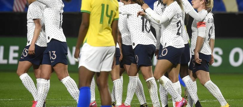 Les Bleues lors de leur victoire sur le Brésil