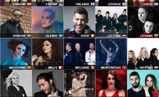 Mosaïque composée d'une partie des candidats à l'Eurovision 2017