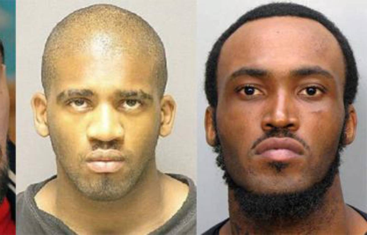 Photomontage représentant Nicolas Cocaign, Alexander Kinyua et Rudy Eugene.  – AFP/ Reuters/ Harford County sheriff
