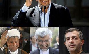 Le président Iranien sortant, Mahmoud Ahmadinejad, et de gauche à droite les candidats à sa succession: Hashemi Rafsanjani, Saeed Jalili et Rahim Mashaie.