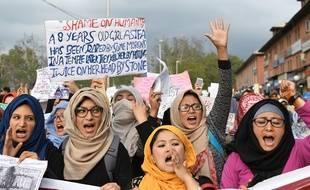 Des femmes manifestent contre les violences sexuelles à Srinagar en Inde (image d'illustration).
