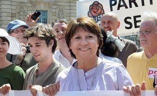 La première secrétaire du parti socialiste, Martine Aubry a défilé dans les rues de Lille, le 24 juin 2010 contre le projet de réforme des retraites du gouvernement.