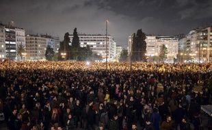 Manifestation de soutien au gouvernement grec à Athènes, le 5 février 2015