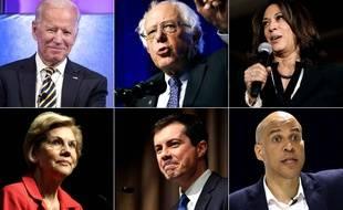 Les six favoris de la primaire démocrate: Joe Biden, Bernie Sanders, Kamala Harris, Elizabeth Warren, Pete Buttigieg et Cory Booker.
