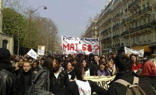 Manifestation lycéenne à Paris le 10 avril 2008