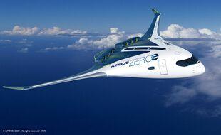 L'aéronef à fuselage intégré, zéro émission, imaginé par Airbus.