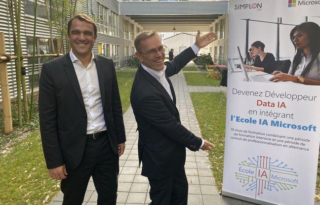 Jérôme Barrier (à gauche) et Laurent Shlosser ont inauguré l'école IA de Microsoft au sein de la Cité numérique à Bègles.