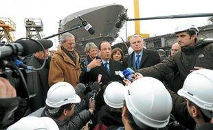 François Hollande s'est exprimé devant le paquebot libyen, dont la construction se poursuit.
