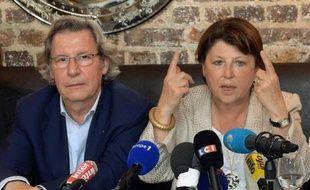 Martine Aubry et Gilles Pargneaux lors d'une conférence de presse le 18 juillet 2014 à Paris