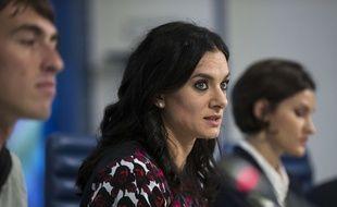 Yelena Isinbayeva lors d'une conférence de presse à Moscou à propos de la suspension de toutes les compétitions de la Russie à cause des affaires de dopage, le 16 novembre 2015.