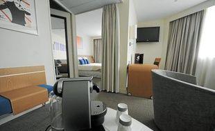 Les chambres répondant aux demandes de la clientèle haut de gamme (ici, au Novotel île-de-Nantes) se multiplient.