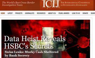 Capturé d'écran du site de l'iCIJ qui met à l'honneur sa récente enquête , Swisskeaks
